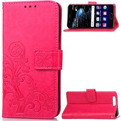 Embossing Imprint Four-Leaf Clover Leather Wallet Case for Huawei P10 Plus - Rose