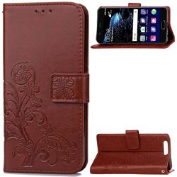 Embossing Imprint Four-Leaf Clover Leather Wallet Case for Huawei P10 Plus - Brown