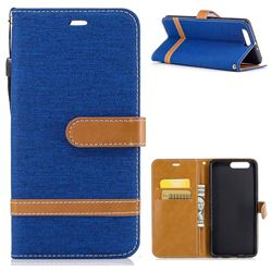 Jeans Cowboy Denim Leather Wallet Case for Huawei P10 Plus - Sapphire