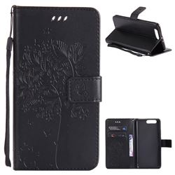Embossing Butterfly Tree Leather Wallet Case for Huawei P10 Plus - Black