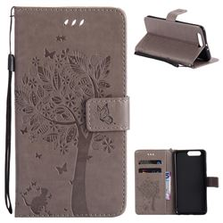 Embossing Butterfly Tree Leather Wallet Case for Huawei P10 Plus - Grey