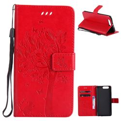 Embossing Butterfly Tree Leather Wallet Case for Huawei P10 Plus - Red