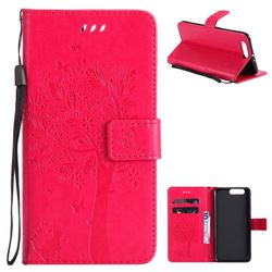 Embossing Butterfly Tree Leather Wallet Case for Huawei P10 Plus - Rose