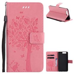 Embossing Butterfly Tree Leather Wallet Case for Huawei P10 Plus - Pink