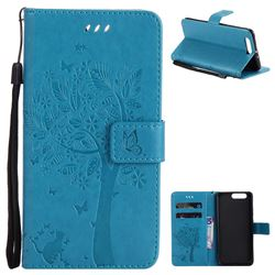 Embossing Butterfly Tree Leather Wallet Case for Huawei P10 Plus - Blue