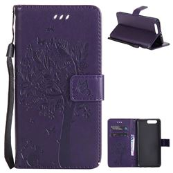 Embossing Butterfly Tree Leather Wallet Case for Huawei P10 Plus - Purple