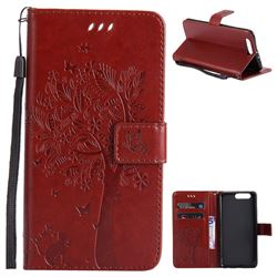 Embossing Butterfly Tree Leather Wallet Case for Huawei P10 Plus - Brown