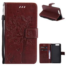 Embossing Butterfly Tree Leather Wallet Case for Huawei P10 Plus - Coffee