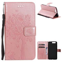 Embossing Butterfly Tree Leather Wallet Case for Huawei P10 Plus - Rose Pink