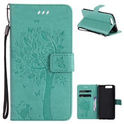 Embossing Butterfly Tree Leather Wallet Case for Huawei P10 Plus - Cyan