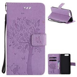 Embossing Butterfly Tree Leather Wallet Case for Huawei P10 Plus - Violet