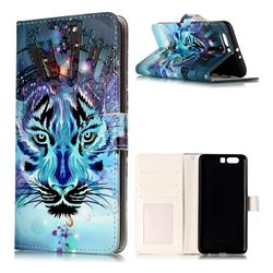 Ice Wolf 3D Relief Oil PU Leather Wallet Case for Huawei P10 Plus