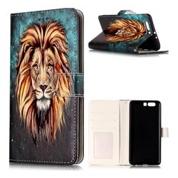 Ice Lion 3D Relief Oil PU Leather Wallet Case for Huawei P10 Plus