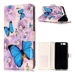 Purple Flowers Butterfly 3D Relief Oil PU Leather Wallet Case for Huawei P10 Plus
