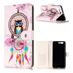 Wind Chimes Owl 3D Relief Oil PU Leather Wallet Case for Huawei P10 Plus
