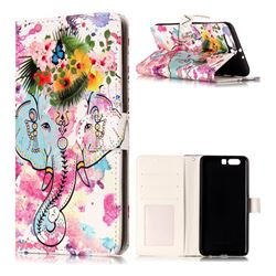 Flower Elephant 3D Relief Oil PU Leather Wallet Case for Huawei P10 Plus