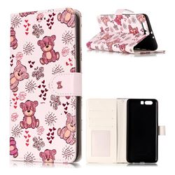 Cute Bear 3D Relief Oil PU Leather Wallet Case for Huawei P10 Plus
