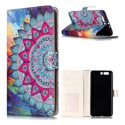 Mandala Flower 3D Relief Oil PU Leather Wallet Case for Huawei P10 Plus