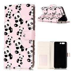 Cute Panda 3D Relief Oil PU Leather Wallet Case for Huawei P10 Plus
