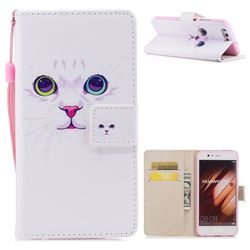White Cat PU Leather Wallet Case for Huawei P10 Plus