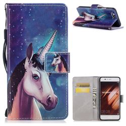 Blue Unicorn PU Leather Wallet Case for Huawei P10 Plus