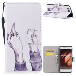 Middle Finger PU Leather Wallet Case for Huawei P10 Plus