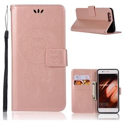 Intricate Embossing Owl Campanula Leather Wallet Case for Huawei P10 Plus - Rose Gold