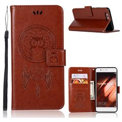 Intricate Embossing Owl Campanula Leather Wallet Case for Huawei P10 Plus - Brown