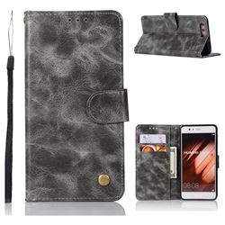 Luxury Retro Leather Wallet Case for Huawei P10 Plus - Gray