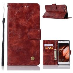 Luxury Retro Leather Wallet Case for Huawei P10 Plus - Wine Red
