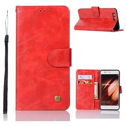 Luxury Retro Leather Wallet Case for Huawei P10 Plus - Red