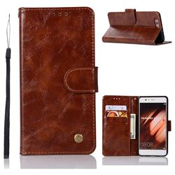 Luxury Retro Leather Wallet Case for Huawei P10 Plus - Brown