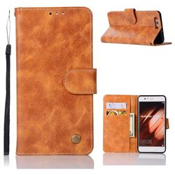 Luxury Retro Leather Wallet Case for Huawei P10 Plus - Golden