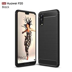 Luxury Carbon Fiber Brushed Wire Drawing Silicone TPU Back Cover for Huawei P20 - Black