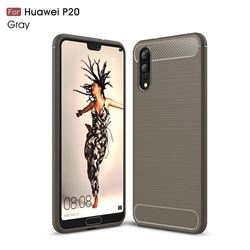 Luxury Carbon Fiber Brushed Wire Drawing Silicone TPU Back Cover for Huawei P20 - Gray