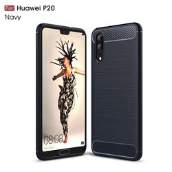 Luxury Carbon Fiber Brushed Wire Drawing Silicone TPU Back Cover for Huawei P20 - Navy