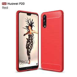 Luxury Carbon Fiber Brushed Wire Drawing Silicone TPU Back Cover for Huawei P20 - Red