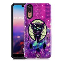 Starry Campanula Owl Pattern 2 in 1 PC + TPU Glossy Embossed Back Cover for Huawei P20