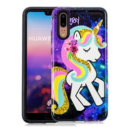 Rainbow Horse Pattern 2 in 1 PC + TPU Glossy Embossed Back Cover for Huawei P20