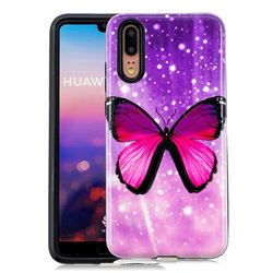 Glossy Butterfly Pattern 2 in 1 PC + TPU Glossy Embossed Back Cover for Huawei P20