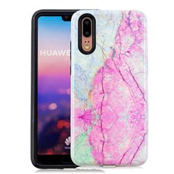 Pink Marble Pattern 2 in 1 PC + TPU Glossy Embossed Back Cover for Huawei P20
