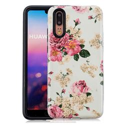 Rose Flower Pattern 2 in 1 PC + TPU Glossy Embossed Back Cover for Huawei P20