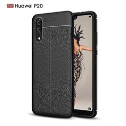 Luxury Auto Focus Litchi Texture Silicone TPU Back Cover for Huawei P20 - Black
