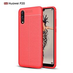Luxury Auto Focus Litchi Texture Silicone TPU Back Cover for Huawei P20 - Red