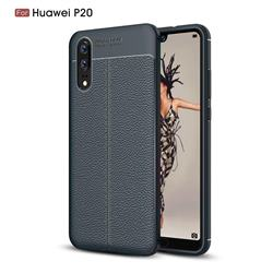 Luxury Auto Focus Litchi Texture Silicone TPU Back Cover for Huawei P20 - Dark Blue