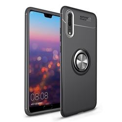 Auto Focus Invisible Ring Holder Soft Phone Case for Huawei P20 - Black