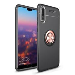 Auto Focus Invisible Ring Holder Soft Phone Case for Huawei P20 - Black Gold