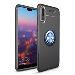 Auto Focus Invisible Ring Holder Soft Phone Case for Huawei P20 - Black Blue