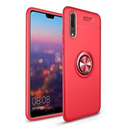 Auto Focus Invisible Ring Holder Soft Phone Case for Huawei P20 - Red