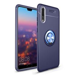 Auto Focus Invisible Ring Holder Soft Phone Case for Huawei P20 - Blue